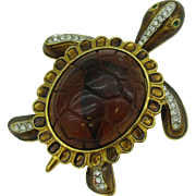 Very Large Turtle Brooch Lucite body
