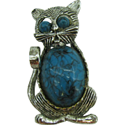 Gerry's Kitty Cat pin with faux Turquoise belly