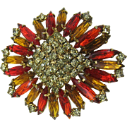 Sparkly Rhinestone brooch a burst of sunshine