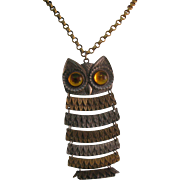 Park Lane Large Owl pendent with great yellow eyes