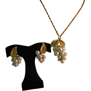 Park Lane grape pearl necklace/pendent and earrings