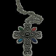 Avon Filigree cross with colored stones