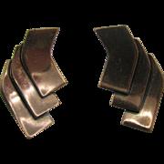Vintage Renior Copper Clip-on Earrings Modern design
