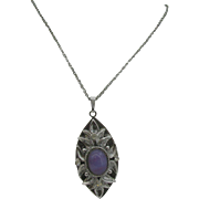 Whiting and Davis silver tone and purple stone necklace