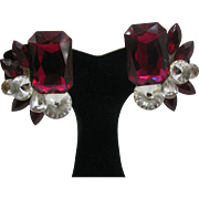Over the top 1980's Crystal earrings in Red and clear