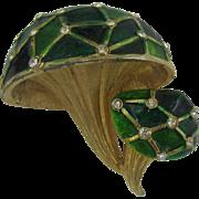 Green enameled Mushroom pin with tiny clear rhinestones