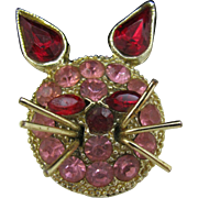 Vintage Pink Rhinestone Kitty Cat face