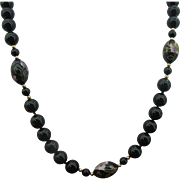 """Beautiful 28"""" black glass and Cloisonne bead Necklace"""