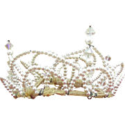 1950's Wedding Tiara/Crown Pearl and AB crystals