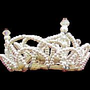 1950's Wedding Tiara/Crown Pearl and AB crystals