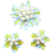 Florenza blue enameled Flower set Pin and earrings