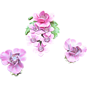 CORO HOT Pink enameled Flower set. Pin and earrings