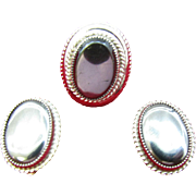 Whiting & Davis silver tone ring and matching earrings Hematite