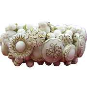 WIDE All White All Glass Button Bracelet