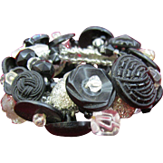 Black and Clear Button Bracelet Stretchy