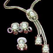SELRO Asian Princess Parure Necklace earrings pin