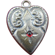 Puffy Sterling Heart charm with red stone