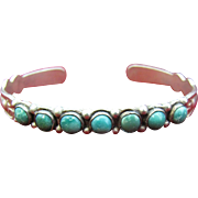 Dainty Sterling Silver Cuff bracelet with Turquoise