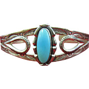 Wonderful Turquoise cuff bracelet with mark for Bell Trading Company