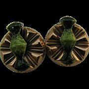Matisse Renoir cooper and green enameled earrings