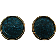 Matisse Renoir Copper and blue speckled enameled earrings