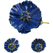 Beautiful Royal Blue enameled flower pin and earrings set with free extra pair of earrings