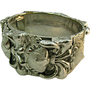 Whiting and Davis wide high relief Bangle Bracelet Silver tone