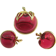 Sarah Coventry Luscious Apple pin and earring set