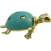 Cute Turquoise blue Turtle pin
