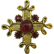 Maltese Cross Pin/Pendent with red stones