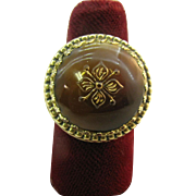 Whiting and Davis Ring high dome brown cabochon with design