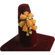 14K Gold Ring with Angle skin Coral and Diamonds