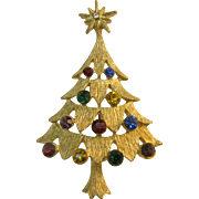 Beautiful Multi color Rhinestone Christmas tree pin