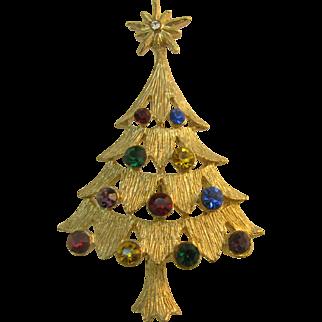 Beautiful Multi color Rhinestone Christmas tree pin