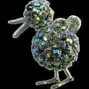 Wonderful Warner Duck pin in AB rhinestones