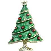 Beatrix Christmas tree pin Green enamel with red ornaments