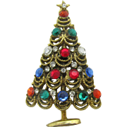 Christmas tree pin large looping branches with rhinestones