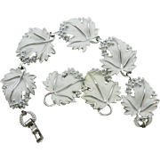 Sarah Coventry Silver and White Grape Leaf Parure