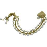 Sea shell and fish chatelaine with Faux pearls