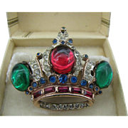 Coro Craft Sterling silver Crown brooch A Katz Patent 1944