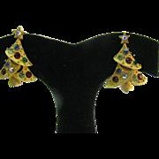 Cute Christmas tree earrings gold tone colored Rhinestones cris cross design