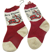 Vintage 1920's-1930's Merry Christmas tiny knit stockings