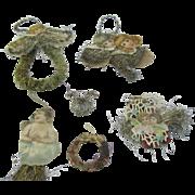 Victorian scrap paper and tinsel ornaments lot of 7