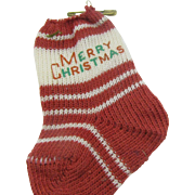 Tiny little 1930's Merry Christmas Stocking