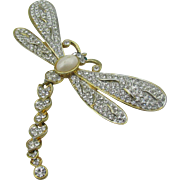 Large Dragon Fly Brooch Pave set stones with articulated tail