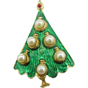 Glass pearl and enameled Christmas tree pin
