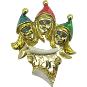 Three Christmas Carolers with Enameled Hats Pin (Last Chance)