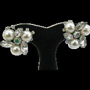 Judy Lee large Pearl and Rhinestone earrings