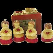 4 Caroler Candles in Original Box Tavern Novelty /Gurley