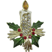 Beautiful Rhinestone encrusted Christmas Candle pin (Last Chance)